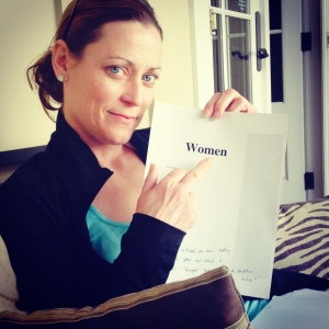 Katrina with my manuscript