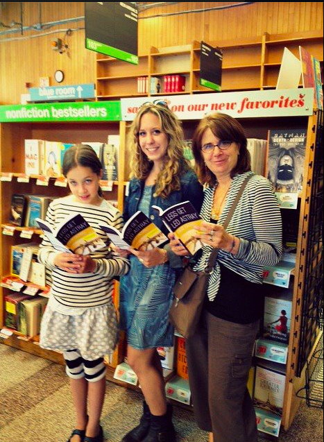 my cousin, me, and my mom at Powell's