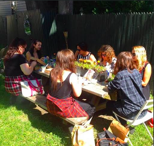 photo of writers writing in plaid